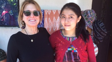 Long-time donor Betsy Ross with a FINCA Guatemala client.
